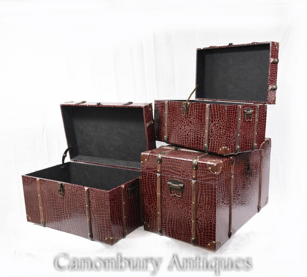Set 3 Faux Snakeskin Coffrets à bagages Coffrets de coffre à vapeur
