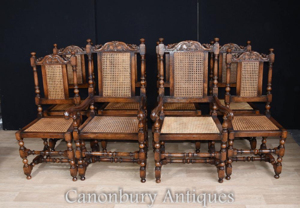 Set 8 Chaises de chêne français Chasse Style Ferme de chasse