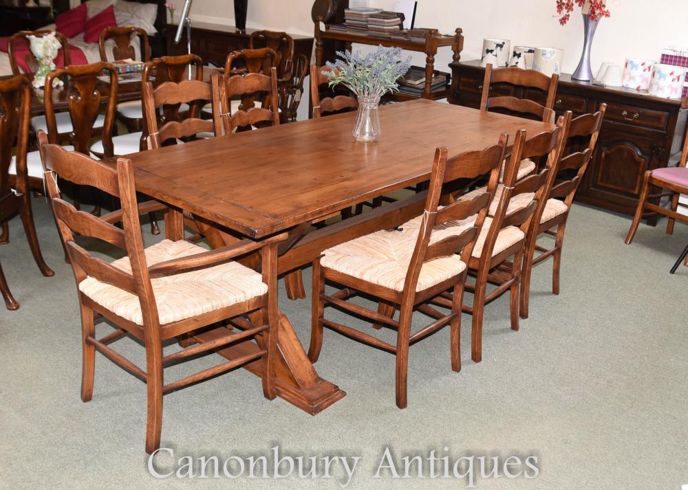 Set 8 chêne Ladderback cuisine salle à manger chaises billets Buzz
