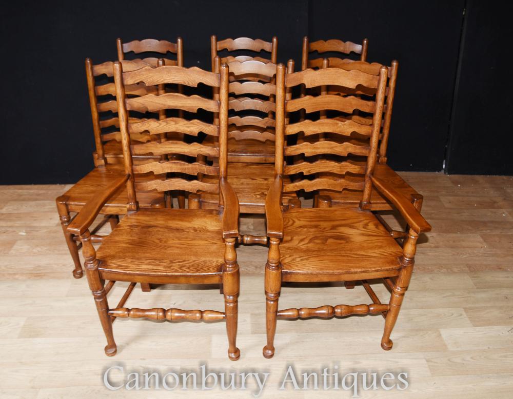 Set 8 chaises de salle à manger en chêne Ladderbac