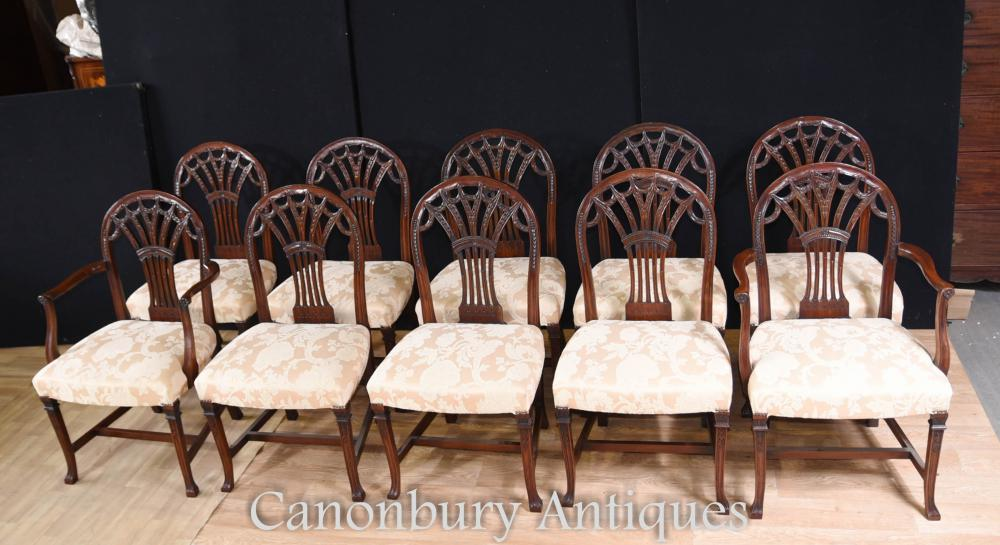 Set de 10 Chaises de Salle à Manger en Acajou Hepplewhite Arm Chair