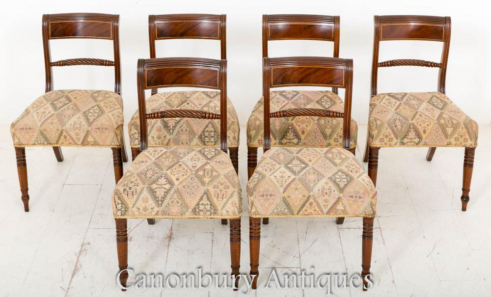Set de 6 chaises Regency en acajou