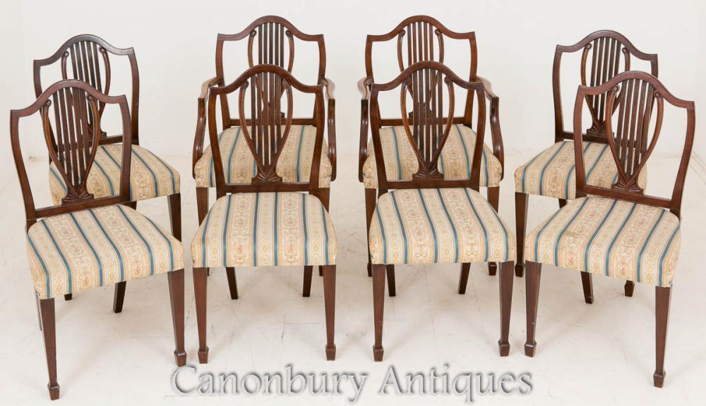 Set de 8 chaises de salle à manger en acajou Hepplewhite