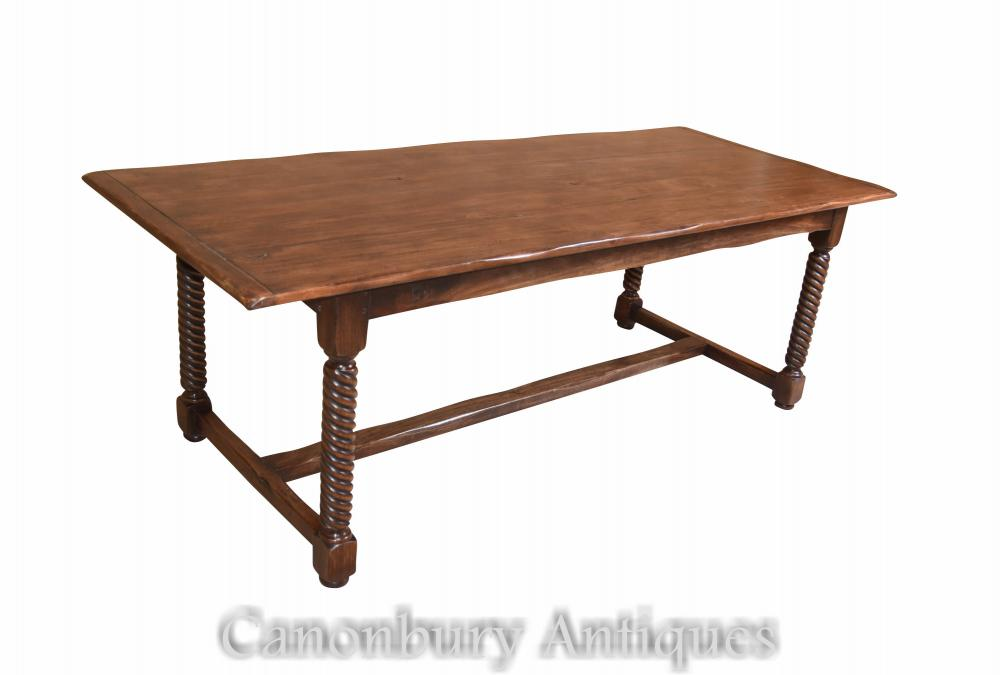 Spiral Leg Oak Refectory Table Meuble de ferme
