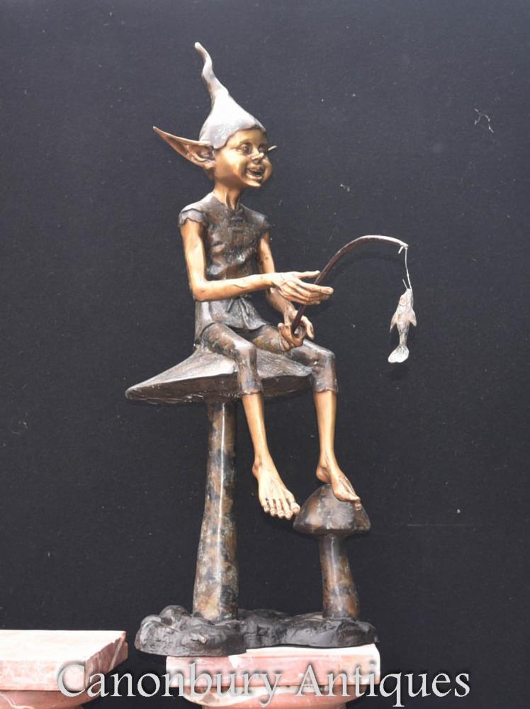 Statue de lutin de pêche en bronze Fairey Elph Pixy