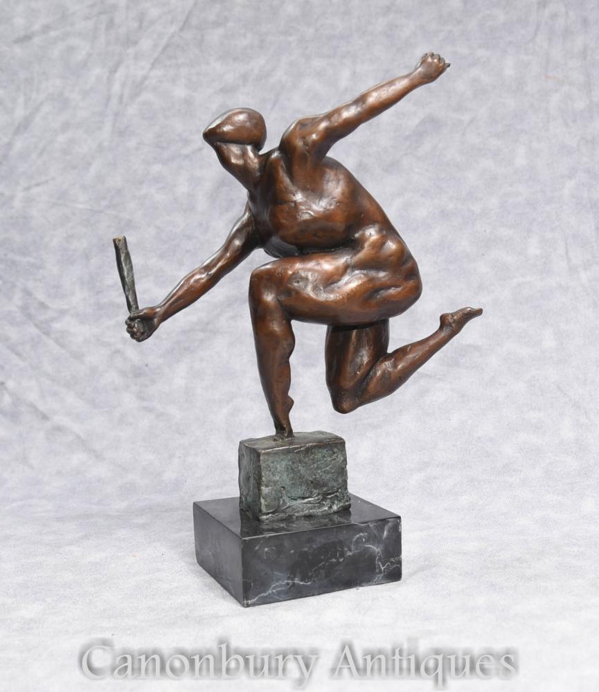 Statuette en bronze de bronze français moderniste Figurine masculine