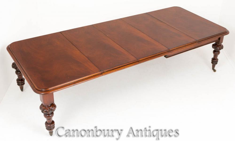 Table à manger en acajou victorienne 1860 Tableaux à trois feuilles