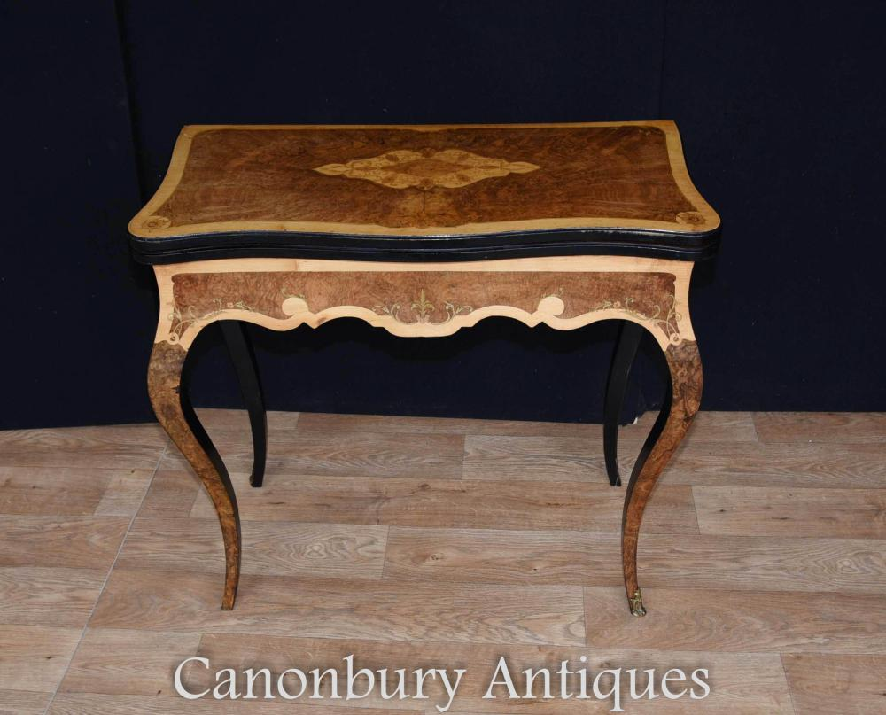 Table Antique Amboyna en Bois Satiné et Noyer Tableau Circa 1880 Empire