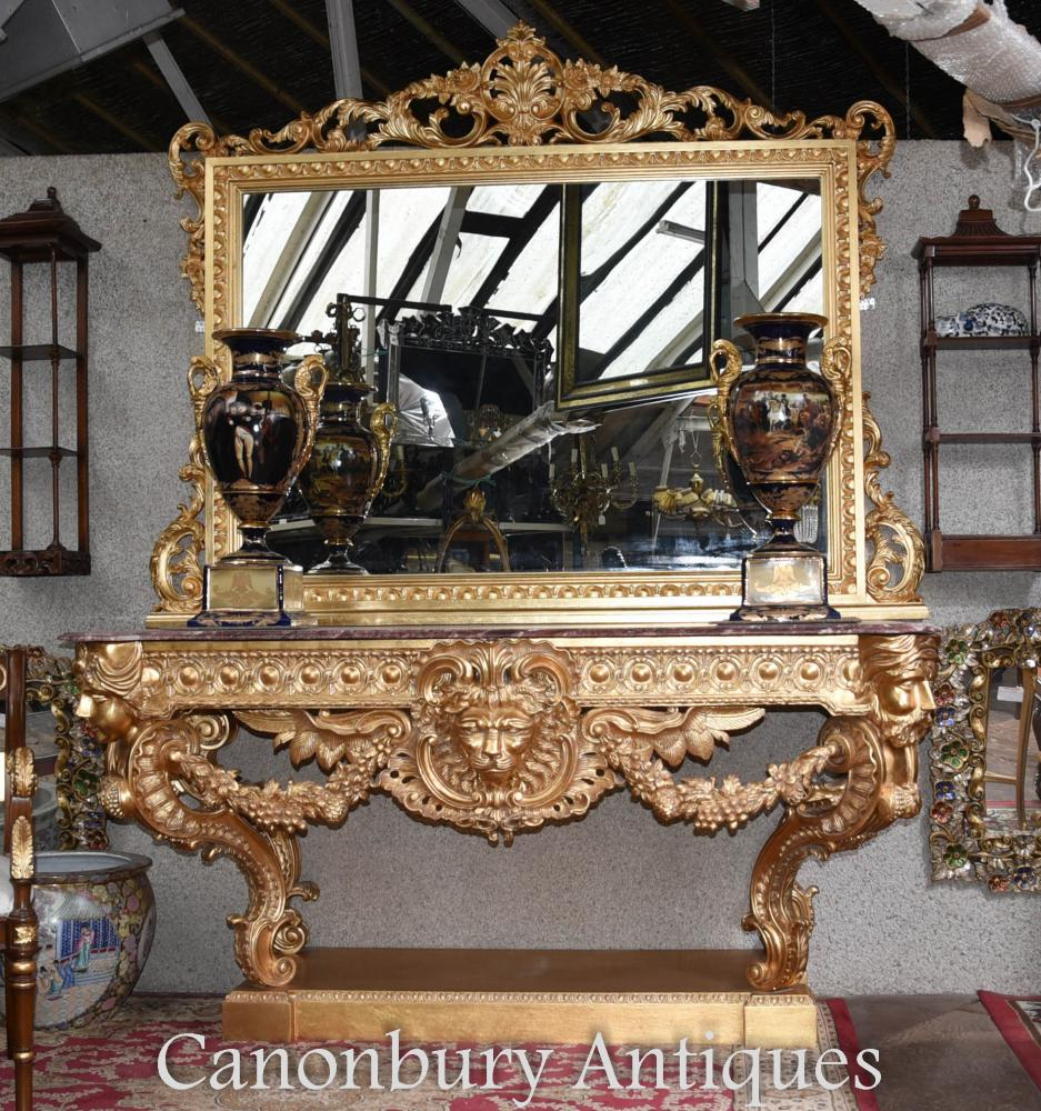 Table Console Louis XVI Dorée et Miroir Rococo Sculpté Doré