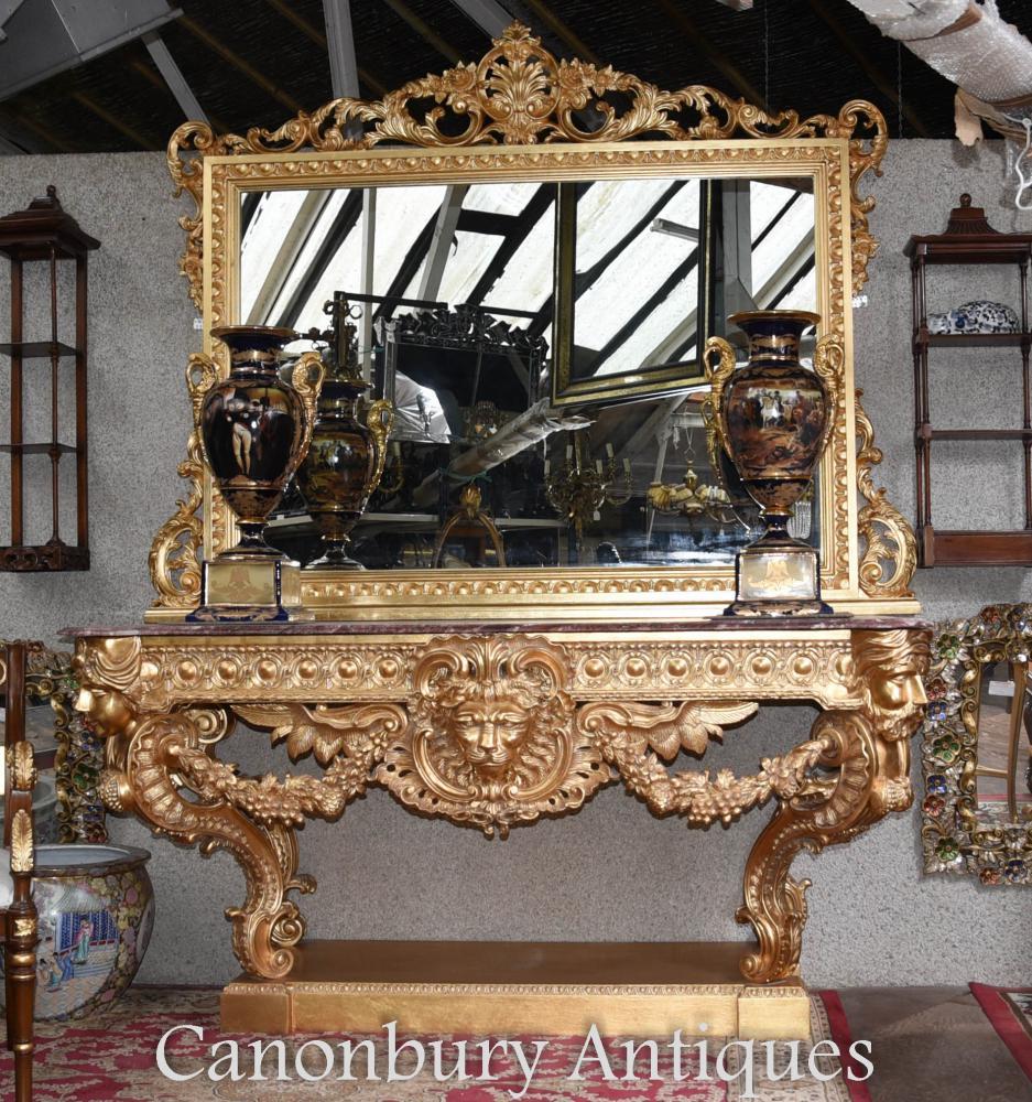 table console louis xvi dor e et miroir rococo sculpt dor. Black Bedroom Furniture Sets. Home Design Ideas