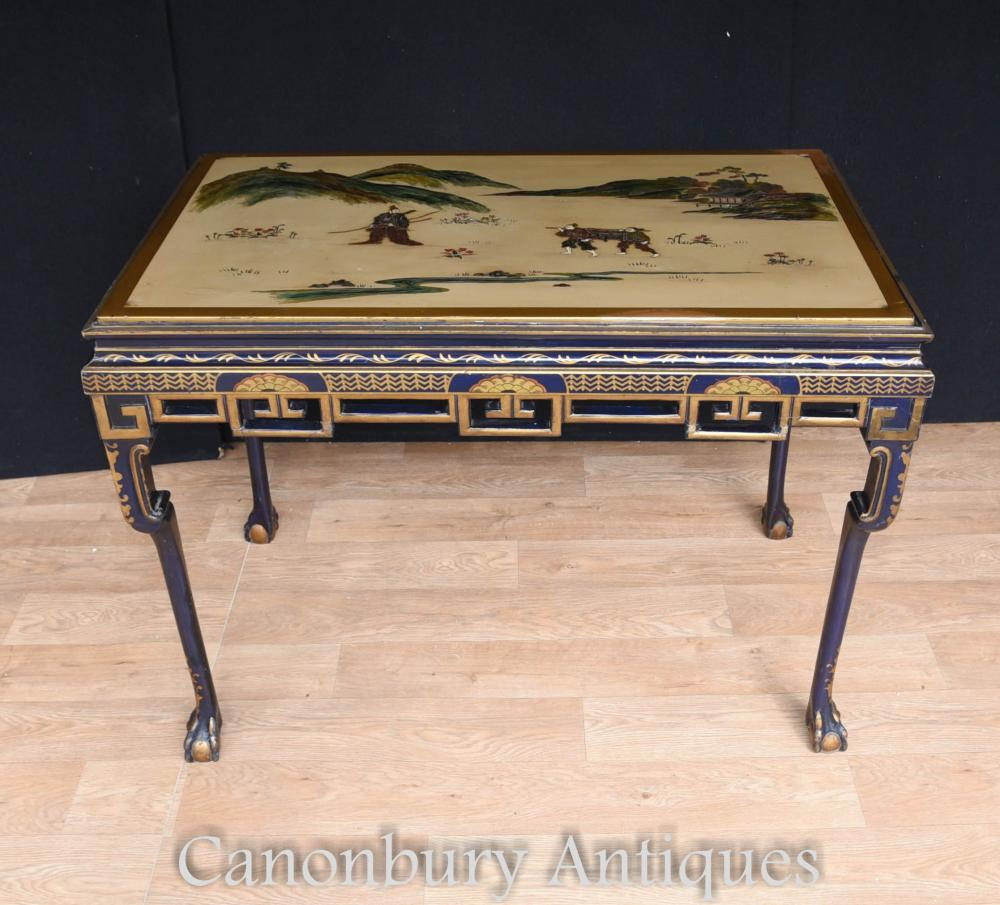 Table Console de laque Edwardian Antique par Hille and Co Japanese Manner 1910