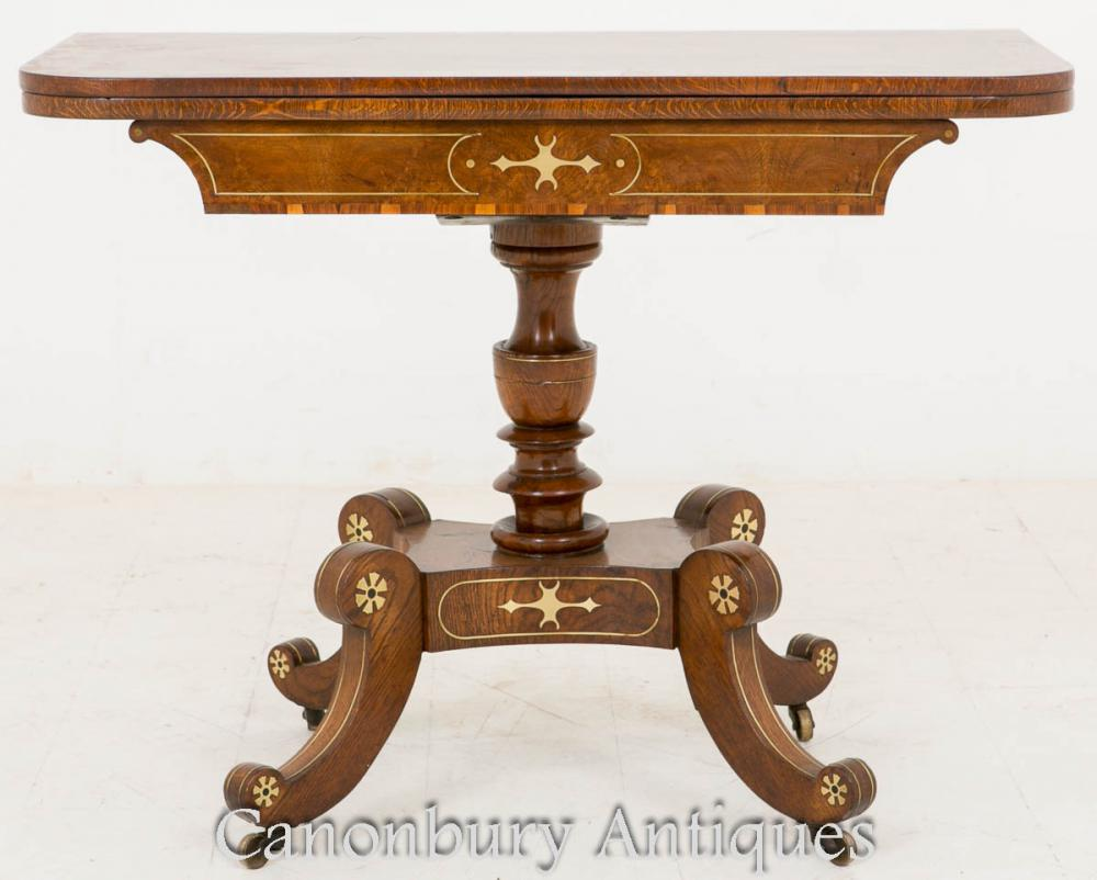 Table d'appoint à thé Regency incrusté Pollard Oak