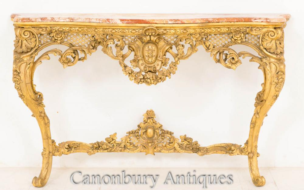 Table de console Victorian Gilt Wood Top en marbre rococo