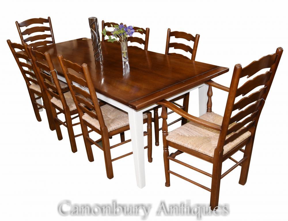 Table de réfectoire de cuisine et Ensemble de chaises à manger Ladderback