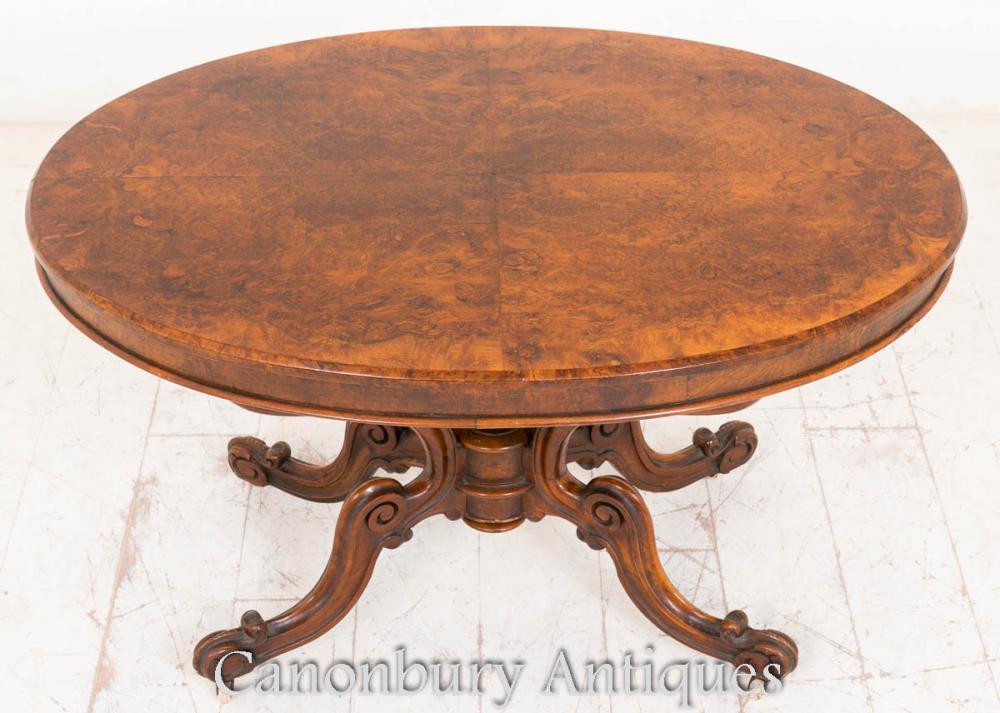 Table de rangement antique de panier de noyer victorienne antique