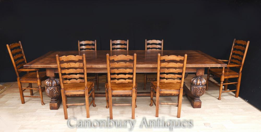 Table de salle à manger et chêne à réfectoire en chêne