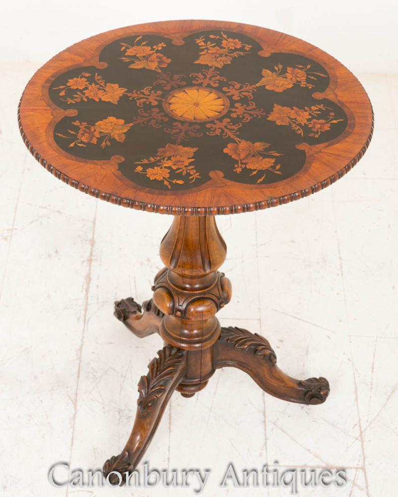 Table latérale occasionnelle victorienne Marquetry Inlay