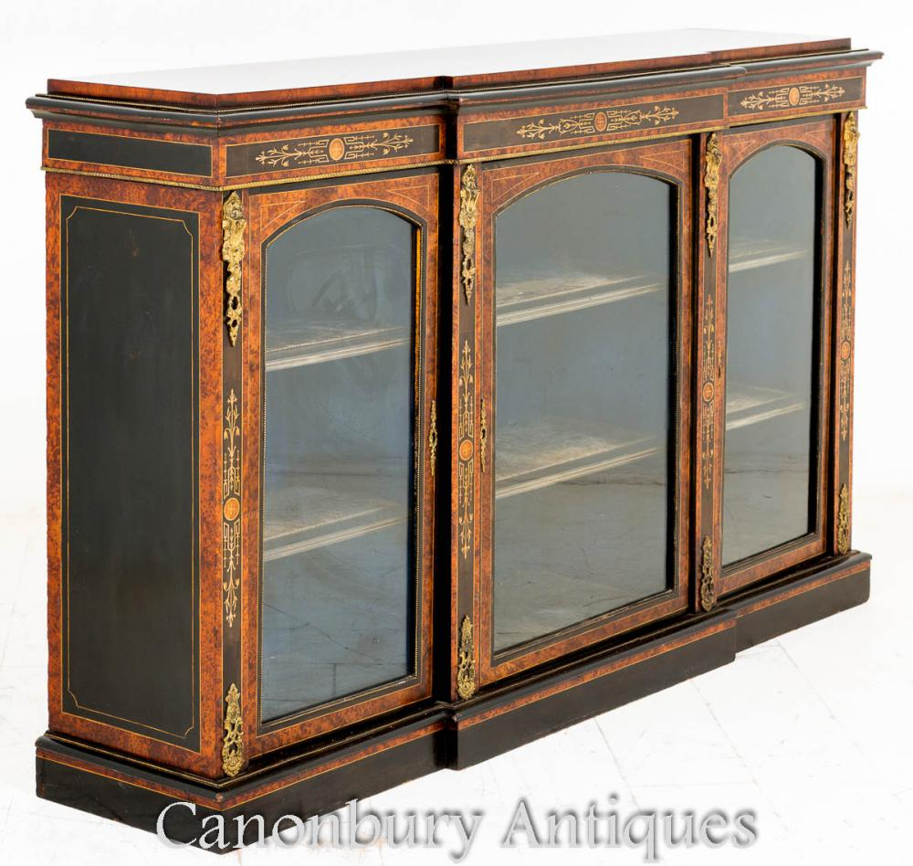 Victorian Breakfront Display Cabinet Burr Noyer 1860