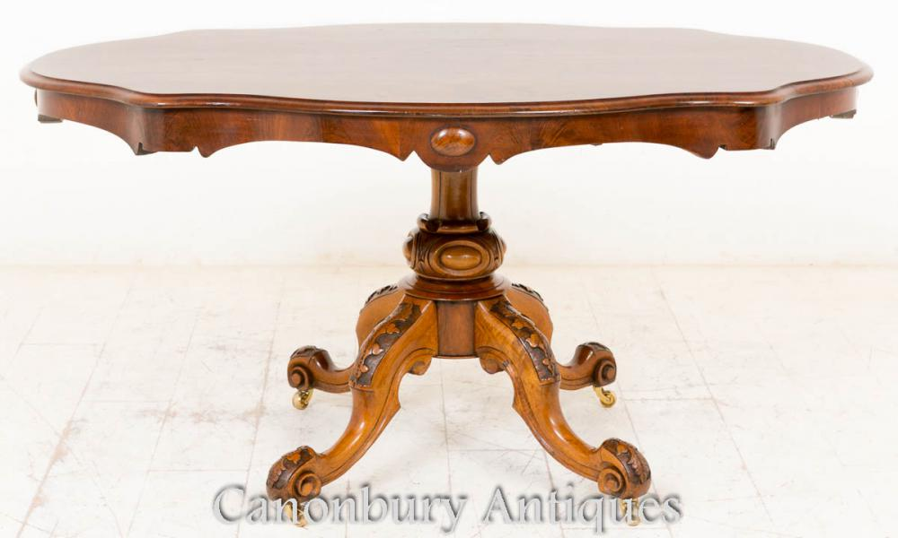 Victorian Burr Noyer Petit Déjeuner Table Centre Tables à manger 1860