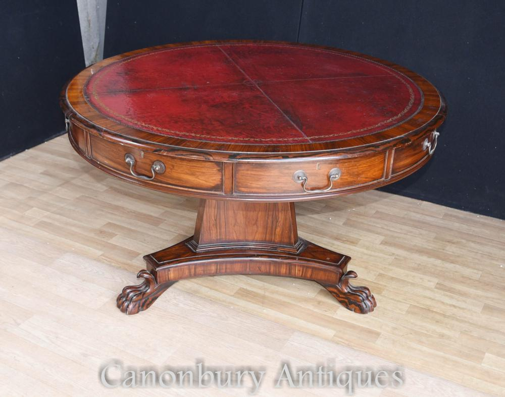 Victorian Coromandel Drum Table Tables de Centre