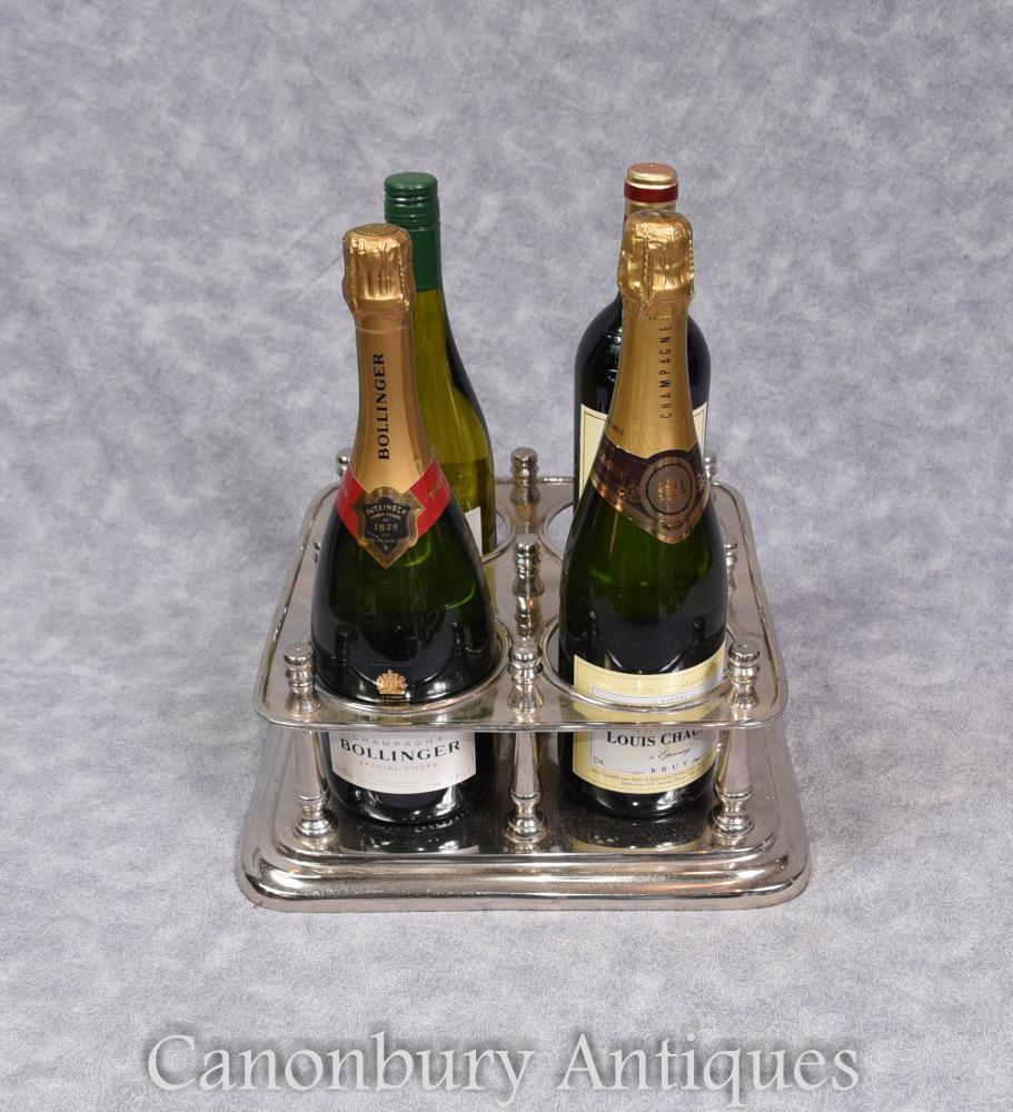 Victorian Silver plaque vin Champagne Stand titulaire