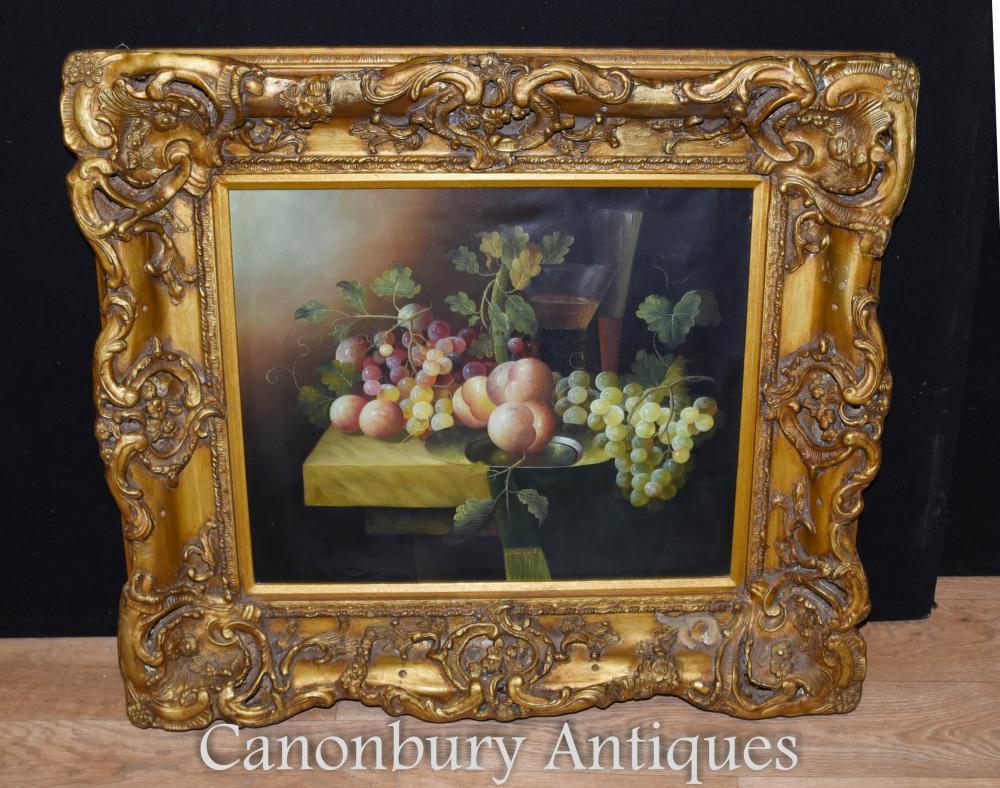 Victorian Still Life peinture à l'huile fruit cadre doré