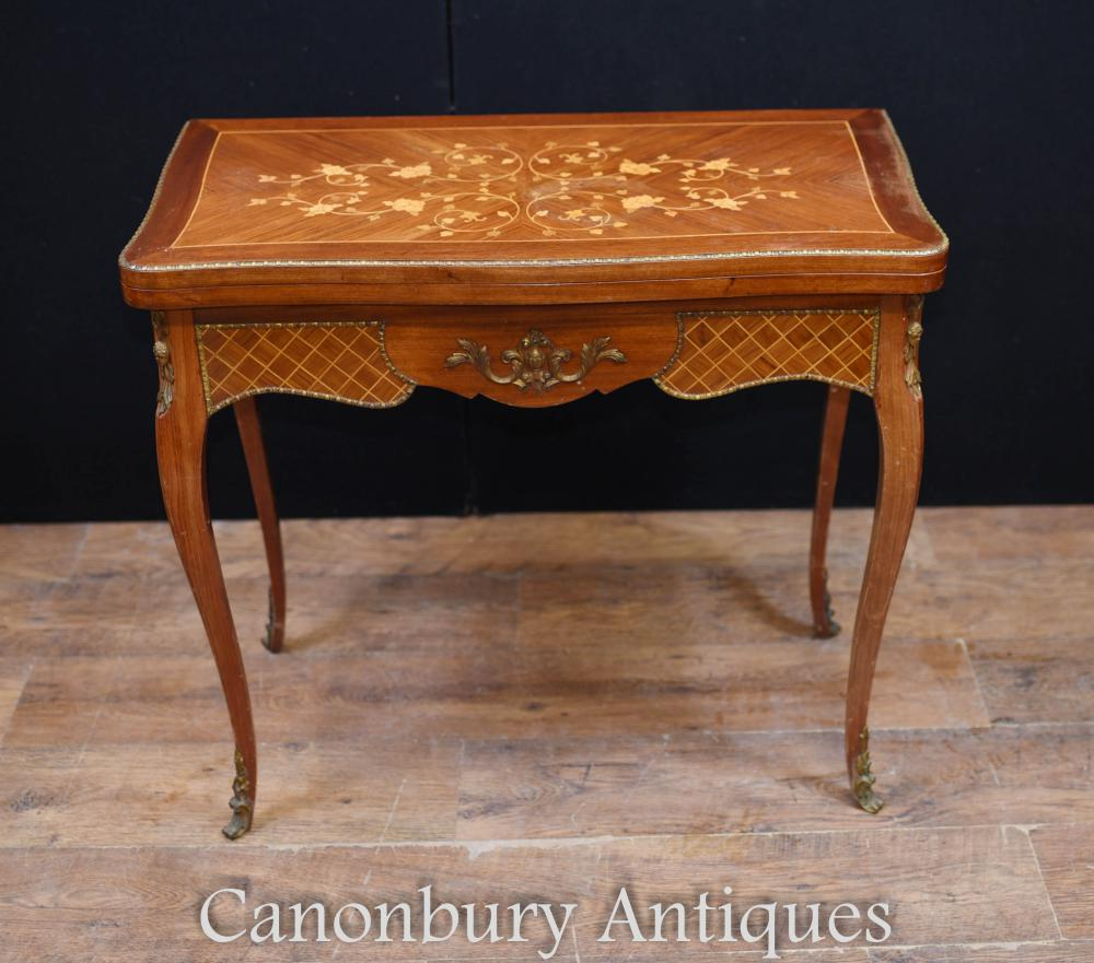 Antique Français Empire Jeux de cartes Table Marqueterie Inlay