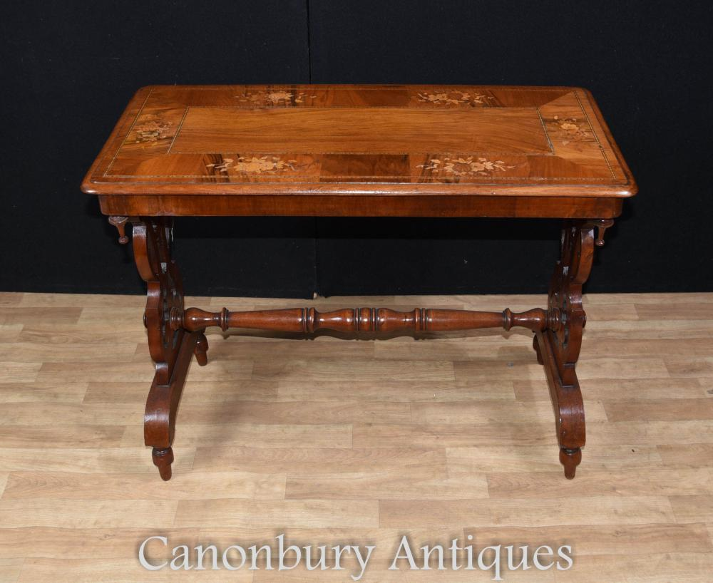 Antique Victorian Stretcher Marqueterie Table d'Appoint