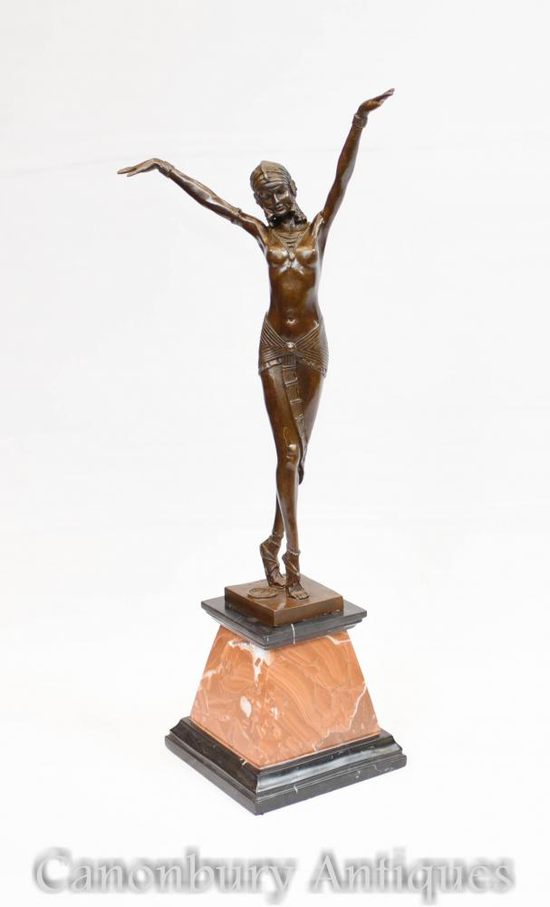 Art déco Bronze Statue de Chiparus Signé Figurine Danseur égyptien
