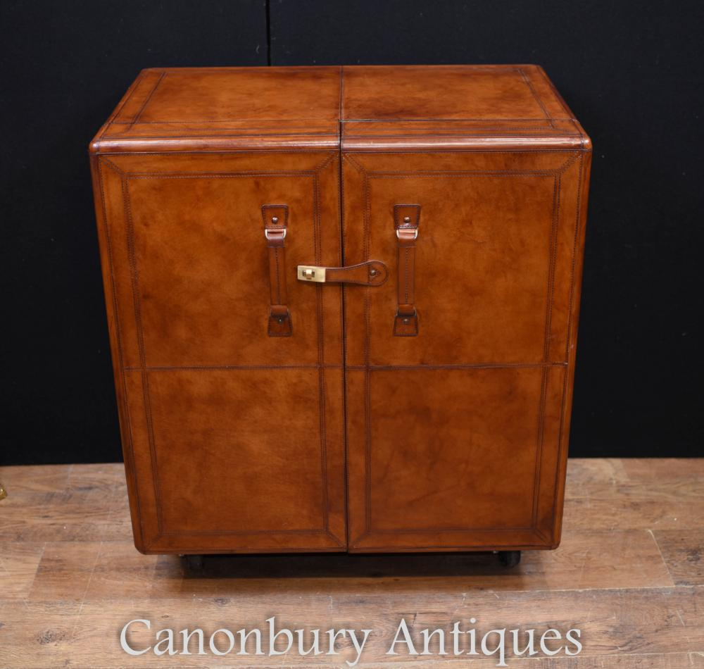 Coffre de campagne en cuir Boissons Cabinet Colonial Furniture