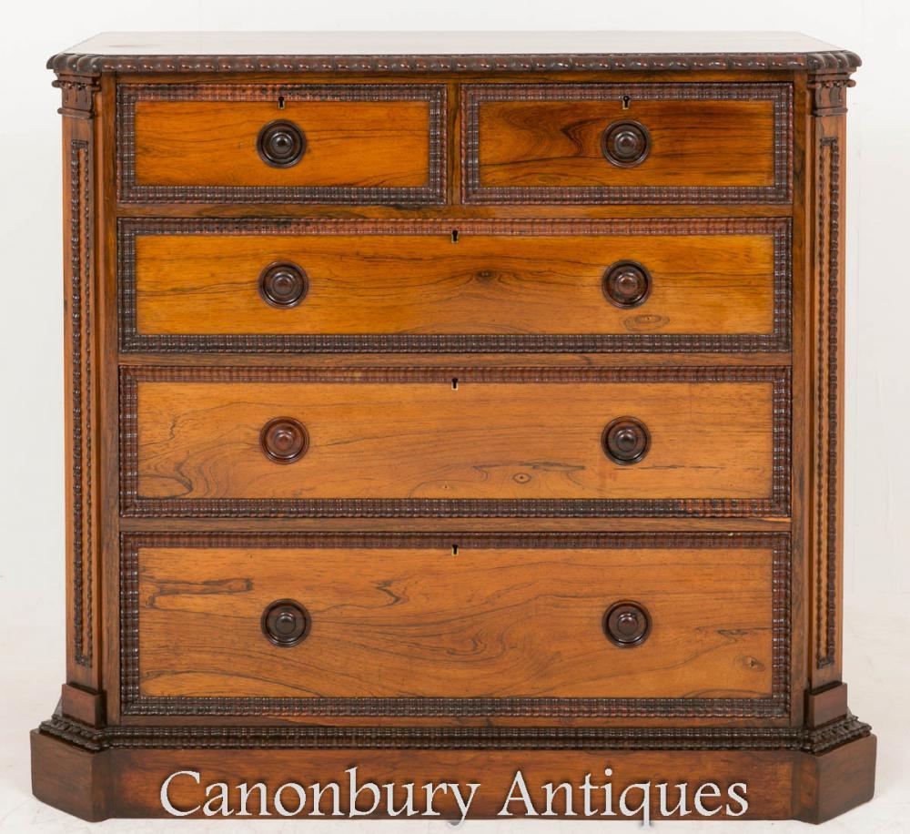 Commode à tiroirs victoriens en palissandre 1860