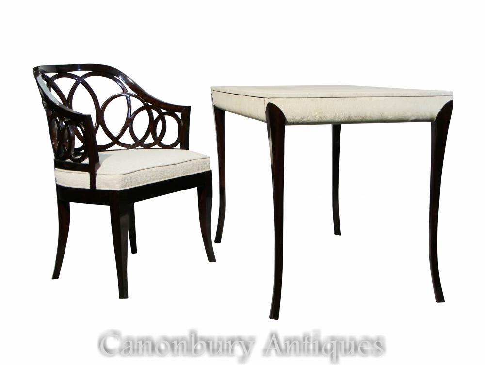Ensemble de chaises de bureau Régence laqué, blanc, chagrin