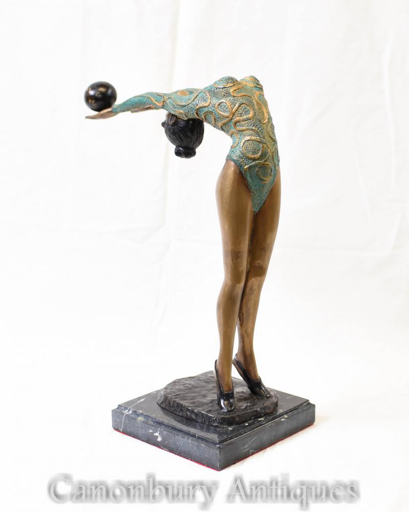 Figurine Art Déco Bronze Vert Déco Danseuse Statue