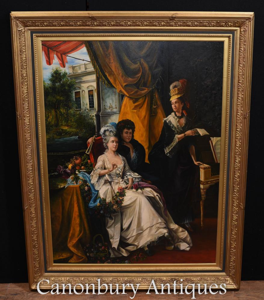Grand portrait parisien à l'huile de gentry français Louis XVI