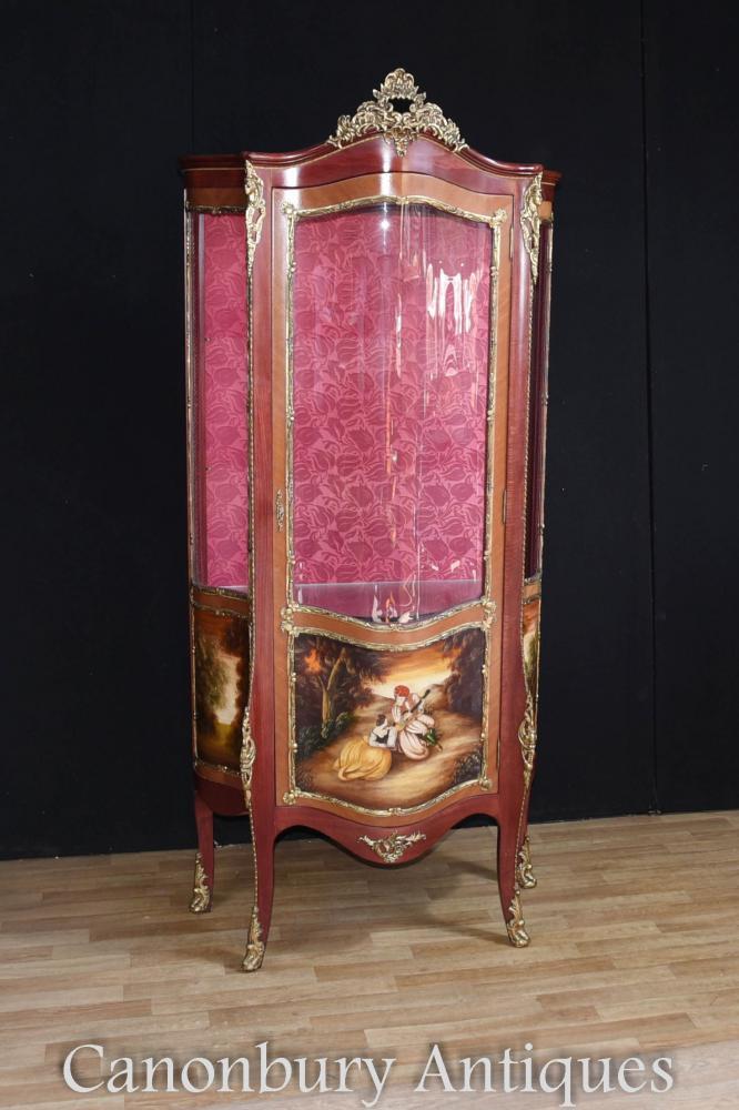 Meuble d'exposition Louis XVI Kingwood Peint Vernis Martin Plaques
