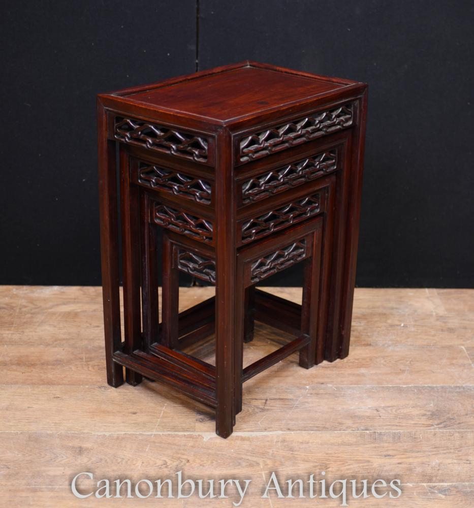 Nid chinois en bois dur de tables Table d'appoint sculptée