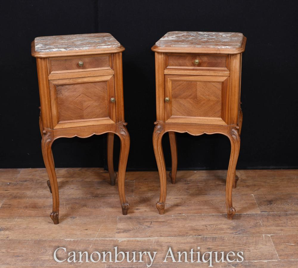 Paire De Chevet Antique Français Commodes De Chevet Parqueterie