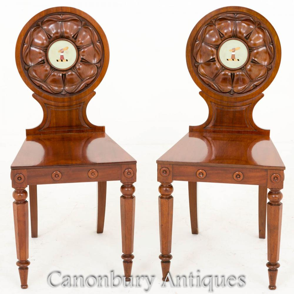 Paire William IV Mahogany Hall Chaises Accent Siège