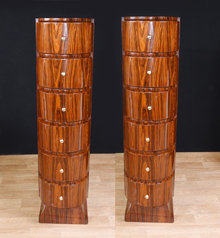 Paire de coffres à tiroirs Art Deco Tall Boy