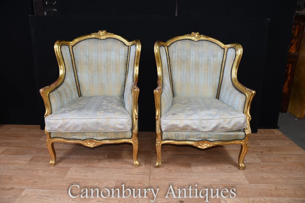 Paire de fauteuils à bras en bronze doré Empire Fauteuils