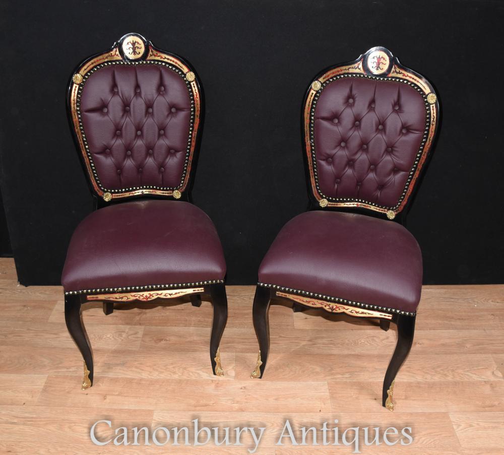 Paire de fauteuils d'appoint incrustés Boulle Louis XVI