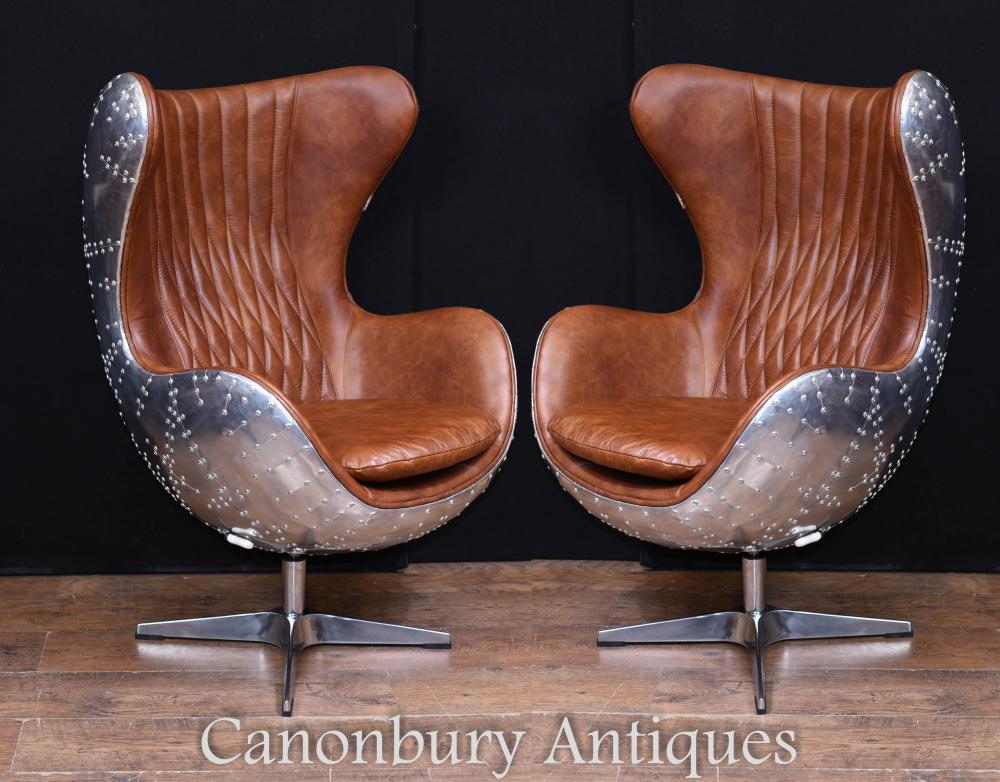 Paire de fauteuils d'aviateur en chrome art déco, chrome