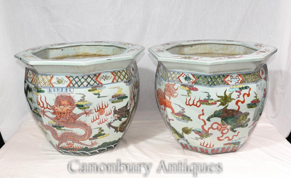 Paire de jardinières chinoises en porcelaine Qianlong Pots de fleurs octogonales