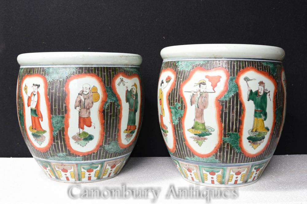 Paire de jardinières en porcelaine de Chine Verte Famille Verte