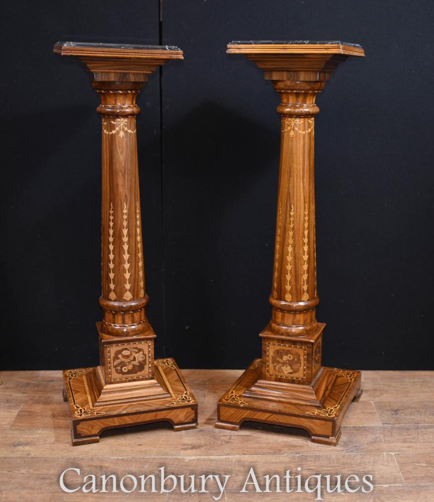 Paire de pieds de colonne Regency en marqueterie Marqueterie