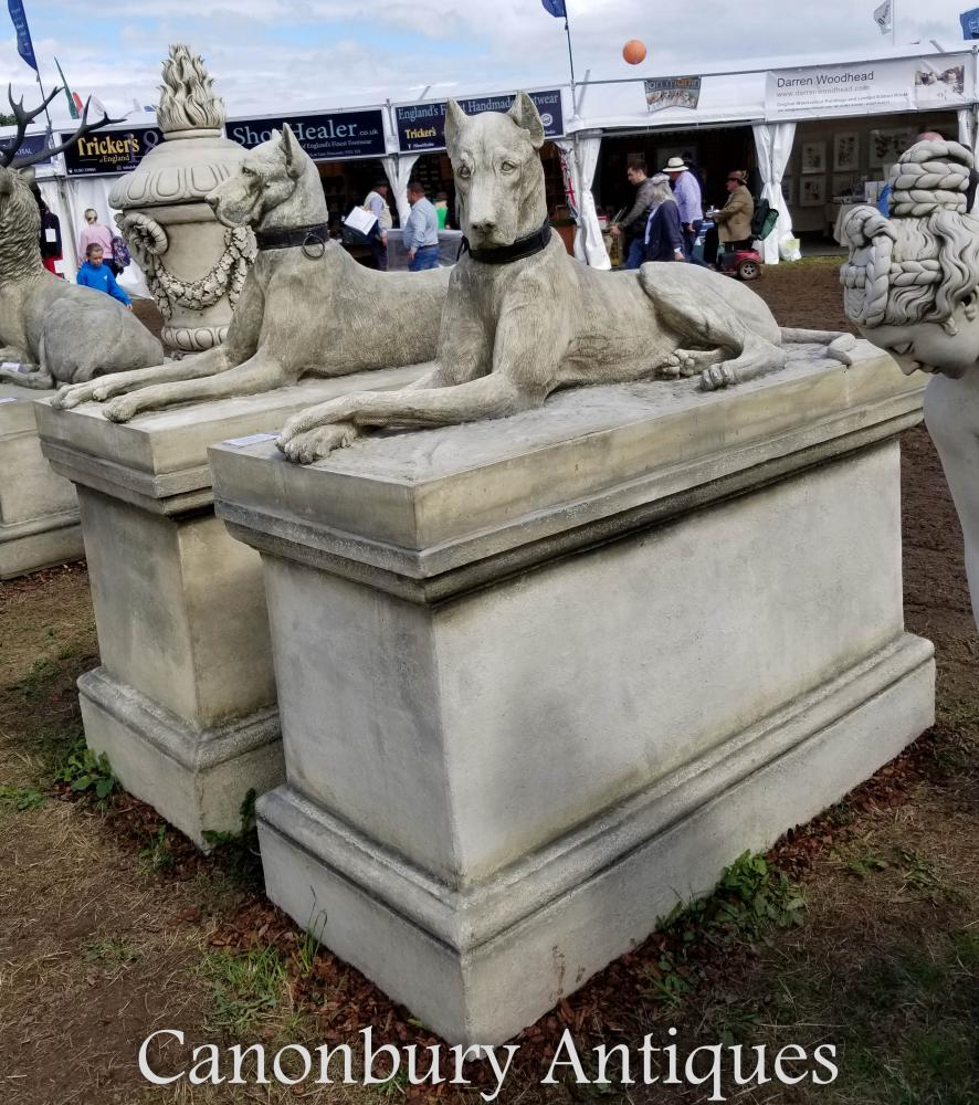 Paire de pierre géante Kingsdale Hounds Dogue Allemand Statue de Jardin de Chasse