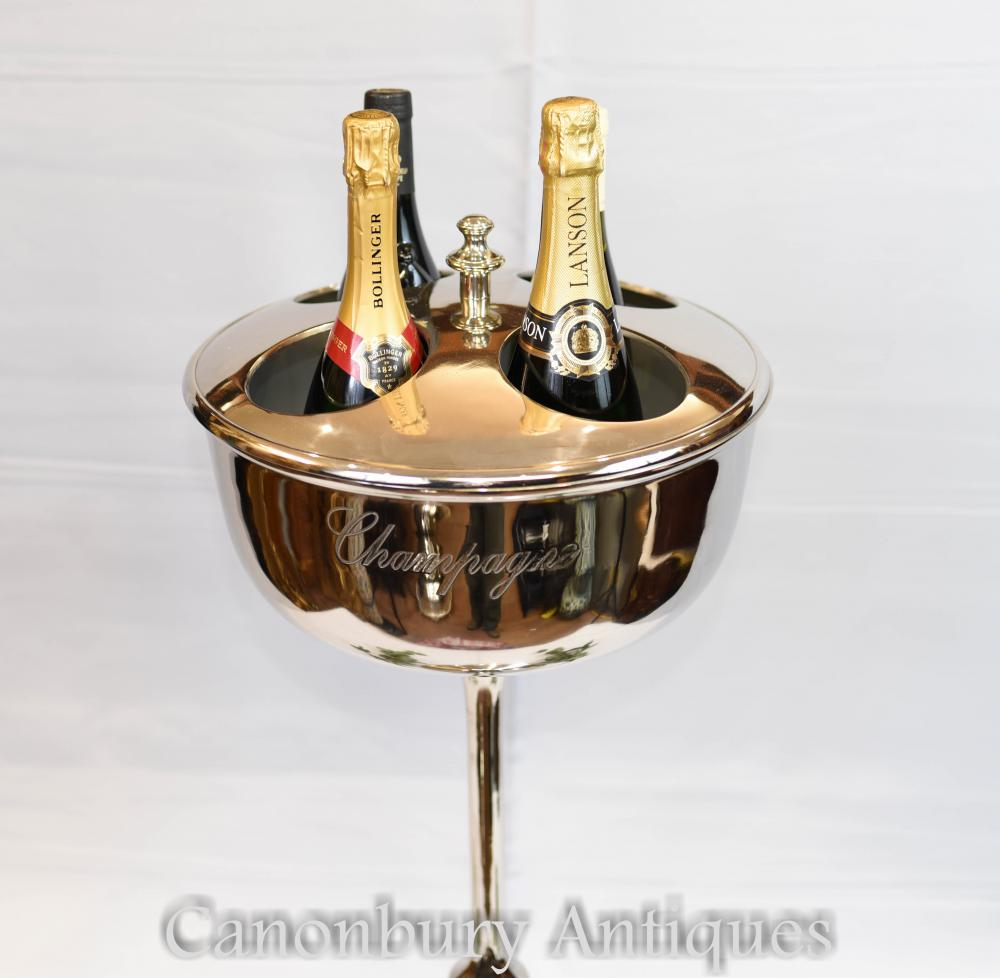 Paire de plateaux argentés Champagne Stands Seau à glace Refroidisseur Restaurant Vin