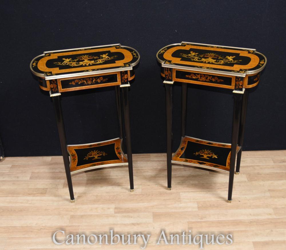 Paire de tables latérales laquées Empire Cocktail Floral