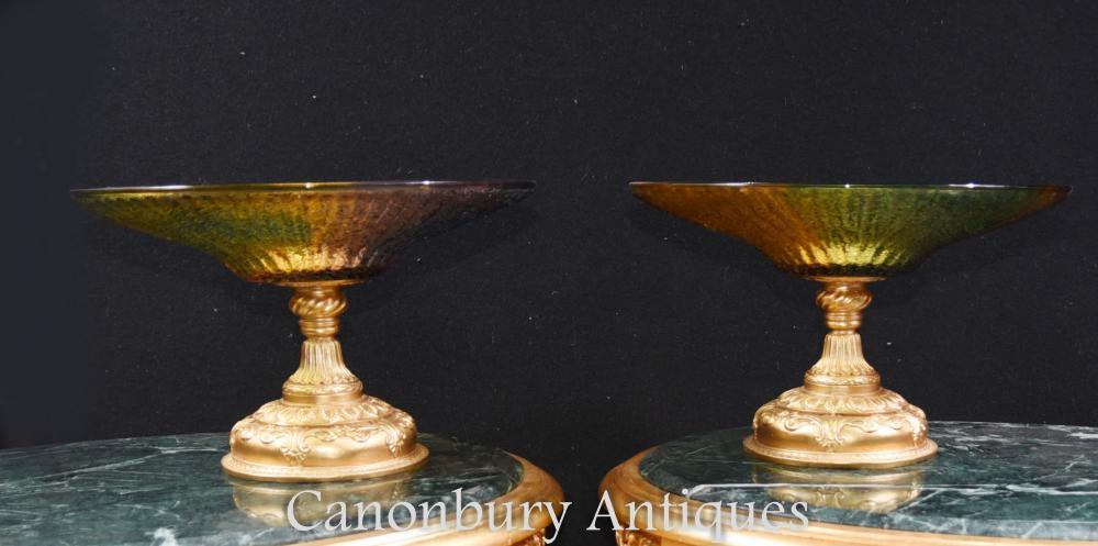 Paire de vaisselle Empire Empire en bronze doré et or