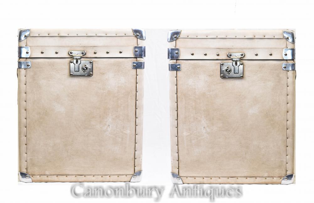 Paire de valises coffre à bagages en cuir anglais